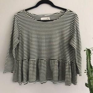 We The Free Green & White Striped Ruffle Shirt M